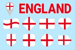 Sistema del vector de la bandera de Inglaterra Diversas dimensiones de una variable geométricas Estilo plano Colección inglesa de ilustración del vector