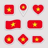 Sistema del vector de la bandera de Vietnam El vietnamita señala la colección de las etiquetas engomadas por medio de una bandera ilustración del vector