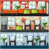 Sistema del vector de la barbería, salón de pelo, carteles del interior del estudio del tatuaje stock de ilustración