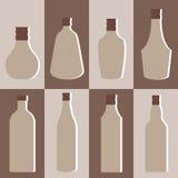 Sistema del vector de la botella del alcohol Fotos de archivo libres de regalías