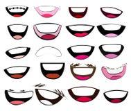 Sistema del vector de la colección de las bocas de la historieta Fotos de archivo