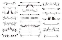 Sistema del vector de la decoración de los separadores del texto Foto de archivo