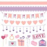 Sistema del vector de la decoración del día de tarjeta del día de San Valentín Fotografía de archivo