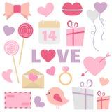 Sistema del vector de la decoración del día de tarjeta del día de San Valentín Imagen de archivo