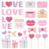 Sistema del vector de la decoración del día de tarjeta del día de San Valentín Imagen de archivo libre de regalías