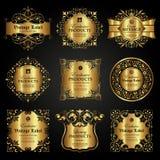 Sistema del vector de la etiqueta ornamental de lujo del oro en estilo del vintage Imagenes de archivo