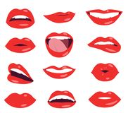 Sistema del vector de la expresión facial de los labios de la mujer Foto de archivo
