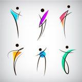Sistema del vector de la figura línea logotipos de la silueta, ser humano, hombres, deporte y muestras del baile ilustración del vector