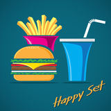 Sistema del vector de la hamburguesa Fotografía de archivo