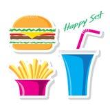 Sistema del vector de la hamburguesa Imagen de archivo libre de regalías