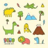 Sistema del vector de la historieta de Dino Foto de archivo libre de regalías