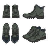 Sistema del vector de la historieta Gray Extreme Hiking Boots ilustración del vector