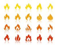 Sistema del vector de la hoguera de los iconos de la llama de la silueta del fuego ilustración del vector