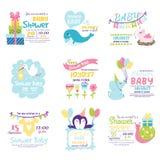 Sistema del vector de la invitación de la fiesta de bienvenida al bebé fotografía de archivo
