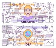 Sistema del vector de la línea fina moderna banderas creativas del concepto de la idea libre illustration