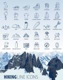 Sistema del vector de la línea fina que camina iconos del viaje que acampan libre illustration