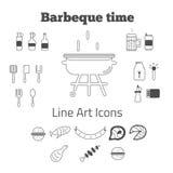 Sistema del vector de la línea iconos de la barbacoa del arte en mínimo Fotografía de archivo