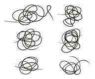 Sistema del vector de la línea a mano forma del garabato Garabato del estilo del bosquejo Elementos del vector aislados en fondo  stock de ilustración