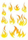 Sistema del vector de la llama Una colección de fuegos estilizados Fuego abstracto ilustración del vector