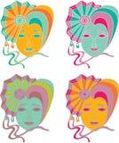 Sistema del vector de la máscara del carnaval en un fondo blanco Fotos de archivo