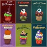 Sistema del vector de la magdalena Cartel asustadizo de los dulces del feliz Halloween Foto de archivo