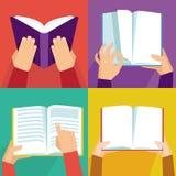 Sistema del vector de la mano que sostiene los libros stock de ilustración