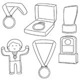Sistema del vector de la medalla y del trofeo ilustración del vector