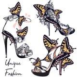 Sistema del vector de la moda con los zapatos femeninos elegantes adornados por la mota Imagenes de archivo