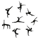Sistema del vector de la muchacha de baile de la silueta Sistema de bailarines de las mujeres que bailan danza moderna stock de ilustración