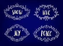 Sistema del vector de la Navidad, nuevo YER, marcos del invierno con las letras dentro ilustración del vector