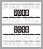 Sistema del vector de la rejilla del calendario por los años 2018-2019 para las tarjetas de visita en fondo Imagen de archivo