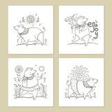Sistema del vector de la tarjeta de felicitación con el cerdo divertido lindo del negro del esquema aislado en el fondo blanco Sí Fotos de archivo libres de regalías