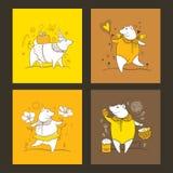 Sistema del vector de la tarjeta de felicitación con el cerdo lindo del esquema en anaranjado, blanco y amarillo Símbolo del cont Imagen de archivo