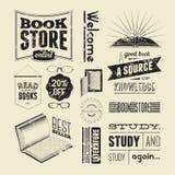 Sistema del vector de la tipografía de los elementos del diseño del vintage para la librería o la biblioteca Imagen de archivo libre de regalías