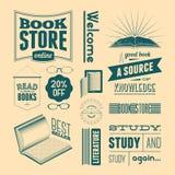 Sistema del vector de la tipografía de los elementos del diseño del vintage para la librería o la biblioteca (sin efecto del grun Foto de archivo libre de regalías
