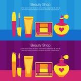 Sistema del vector de la venta plana del ejemplo del cosmético para mujer Fotografía de archivo