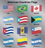 Sistema del vector de las banderas americanas Imagen de archivo libre de regalías
