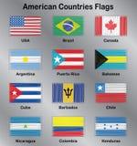 Sistema del vector de las banderas americanas Fotografía de archivo libre de regalías