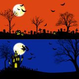 Sistema del vector de las banderas de Halloween Fotos de archivo