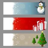 Sistema del vector de las banderas de la Navidad Imagenes de archivo