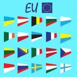 Sistema del vector de las banderas nacionales del estado de los países de Europa, europeo Unian Imagen de archivo