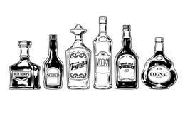 Sistema del vector de las botellas para el alcohol Foto de archivo libre de regalías