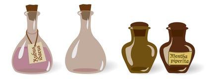 Sistema del vector de las botellas viejas de las pociones del vintage, viles con y sin etiquetas Foto de archivo