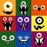 Sistema del vector de las caras del monstruo de la historieta Cuadrado lindo Imagen de archivo