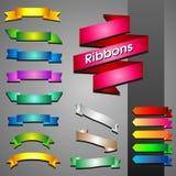Sistema del vector de las cintas multicoloras para el diseño en un backgrou gris stock de ilustración