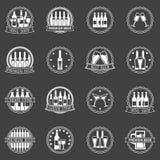 Sistema del vector de las etiquetas de la cerveza y del vino Fotos de archivo