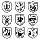 Sistema del vector de las etiquetas de la granja Con las frutas, verduras, animales, molino, granero, trigo, tractor Fotos de archivo