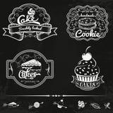 Sistema del vector de las etiquetas de la panadería y de las tortas, diseño Fotos de archivo libres de regalías
