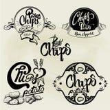 Sistema del vector de las etiquetas de las patatas fritas, elementos del diseño Imagen de archivo