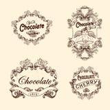 Sistema del vector de las etiquetas del chocolate, elementos del diseño Imágenes de archivo libres de regalías